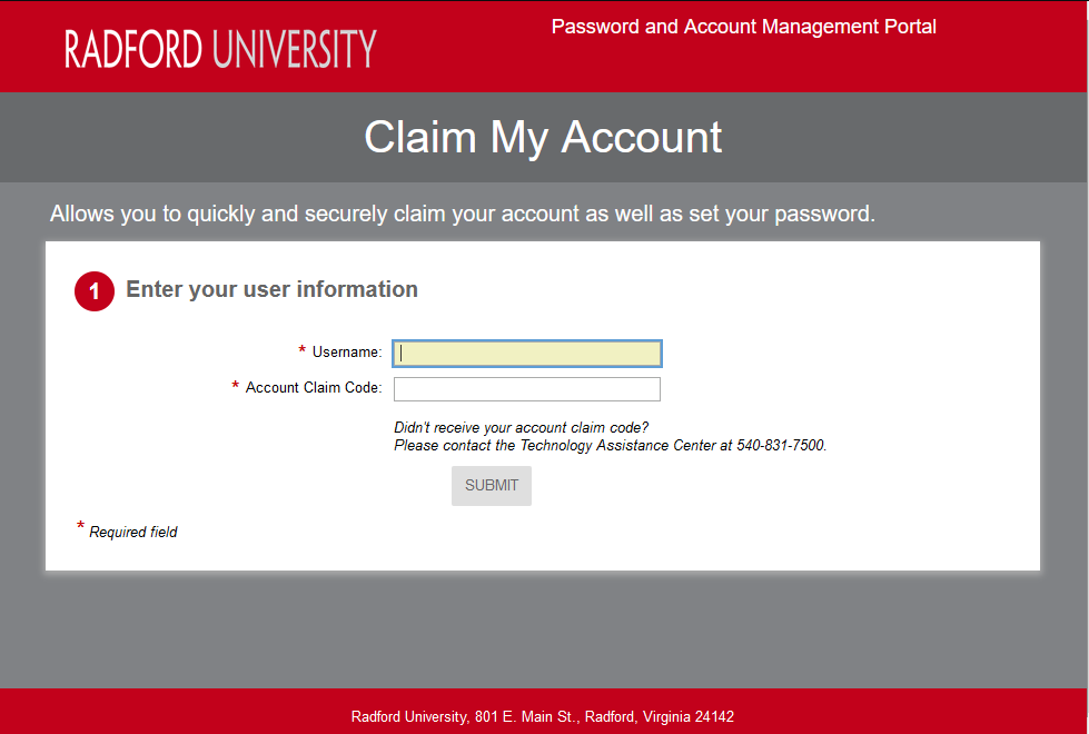 Claim Activate Account